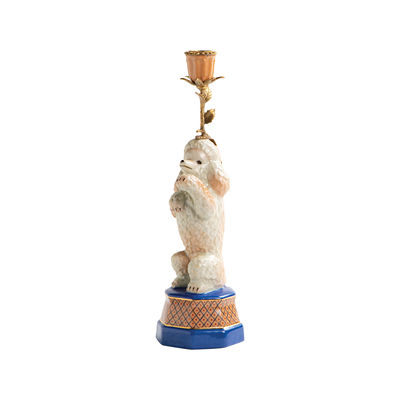Dekoration - Kerzen, Kerzenleuchter und Windlichter - Caniche Kerzenleuchter / Porzellan & Messing - H 31,5 cm - & klevering - Pudel - Messing, Porzellan