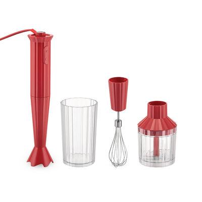 Mixer plongeant Plissé / 500 W - Avec bol gradué, hachoir & fouet - Alessi rouge en matière plastique
