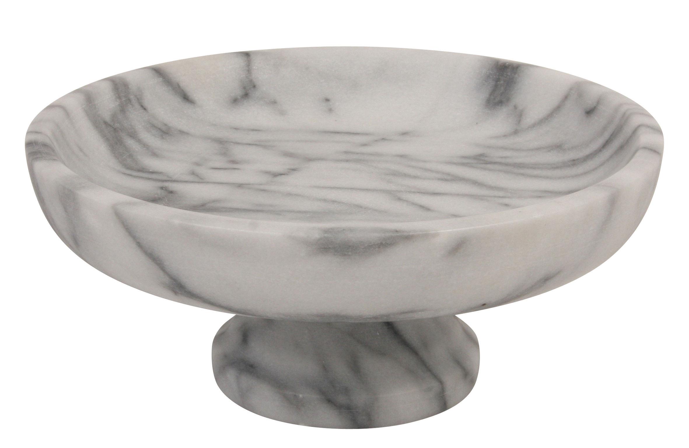 Tischkultur - Körbe, Fruchtkörbe und Tischgestecke - Marble Obstschale / Servierschüssel - Marmor - & klevering - Marmor weiß & grau - Marmor