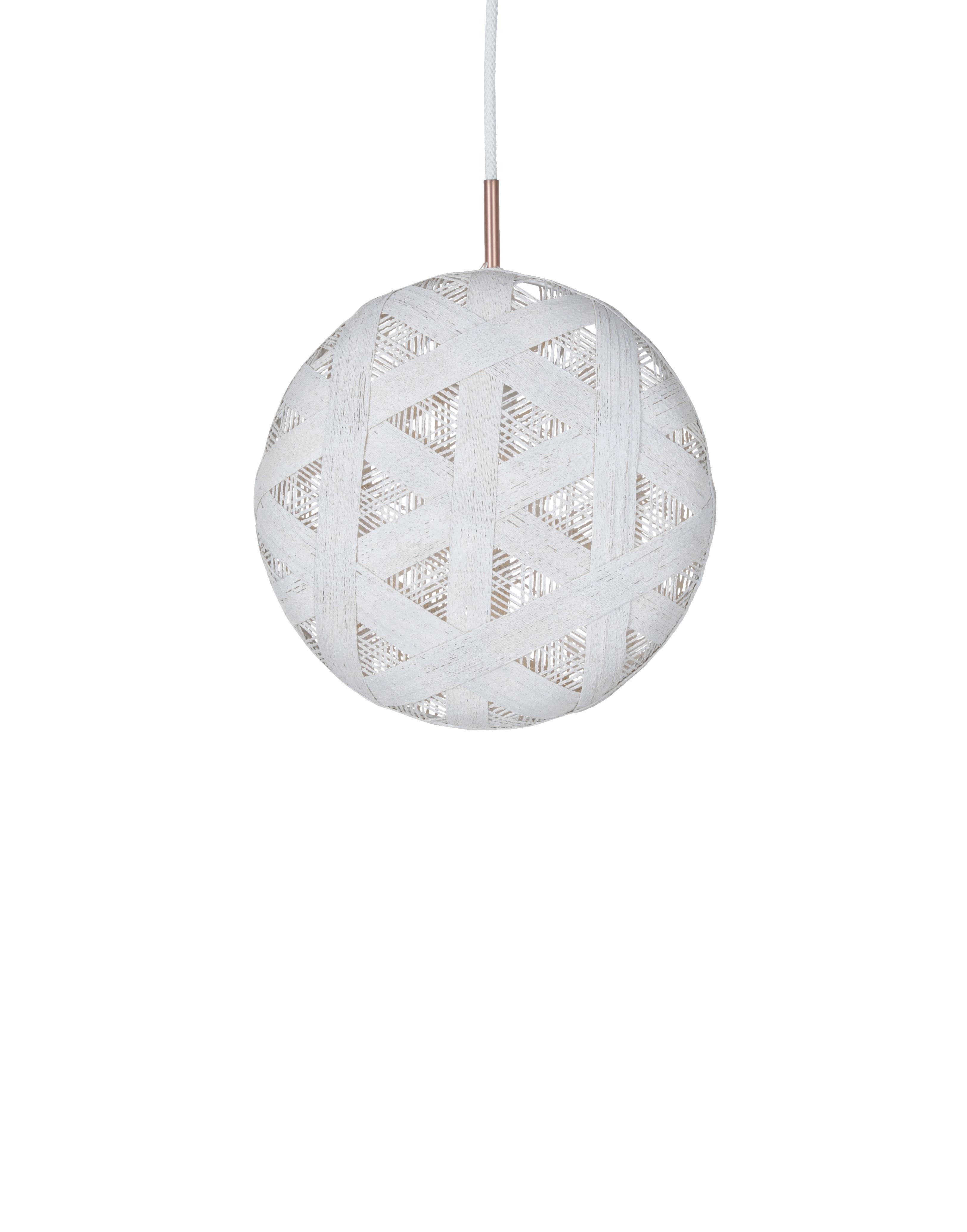 Lighting - Pendant Lighting - Chanpen Hexagon Pendant - Ø  26 cm by Forestier - White / Triangle patterns - Woven acaba
