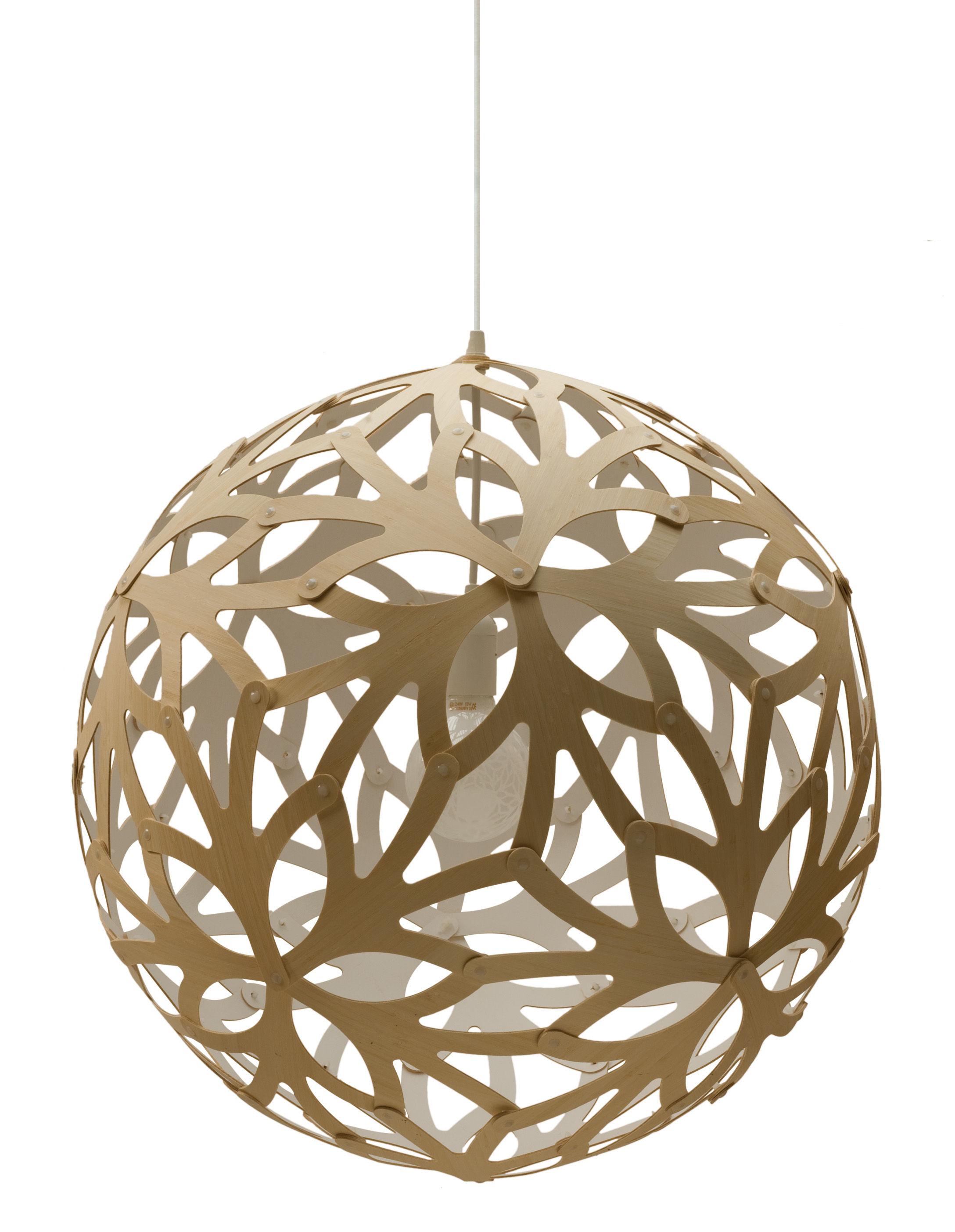 Leuchten - Pendelleuchten - Floral Pendelleuchte Ø 40 cm - Zweifarbig - Exklusiv - David Trubridge - Weiß / Holz natur - Kiefer