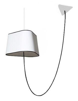 Leuchten - Pendelleuchten - Grand Nuage Pendelleuchte L 43 cm / seitlich hängend - Designheure - Weiß mit schwarzen Bordüren - Gewebe, Polykarbonat