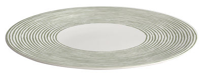 Arts de la table - Plats - Plat de service Acquerello Ø 32 cm - A di Alessi - Blanc & vert - Porcelaine Bone China