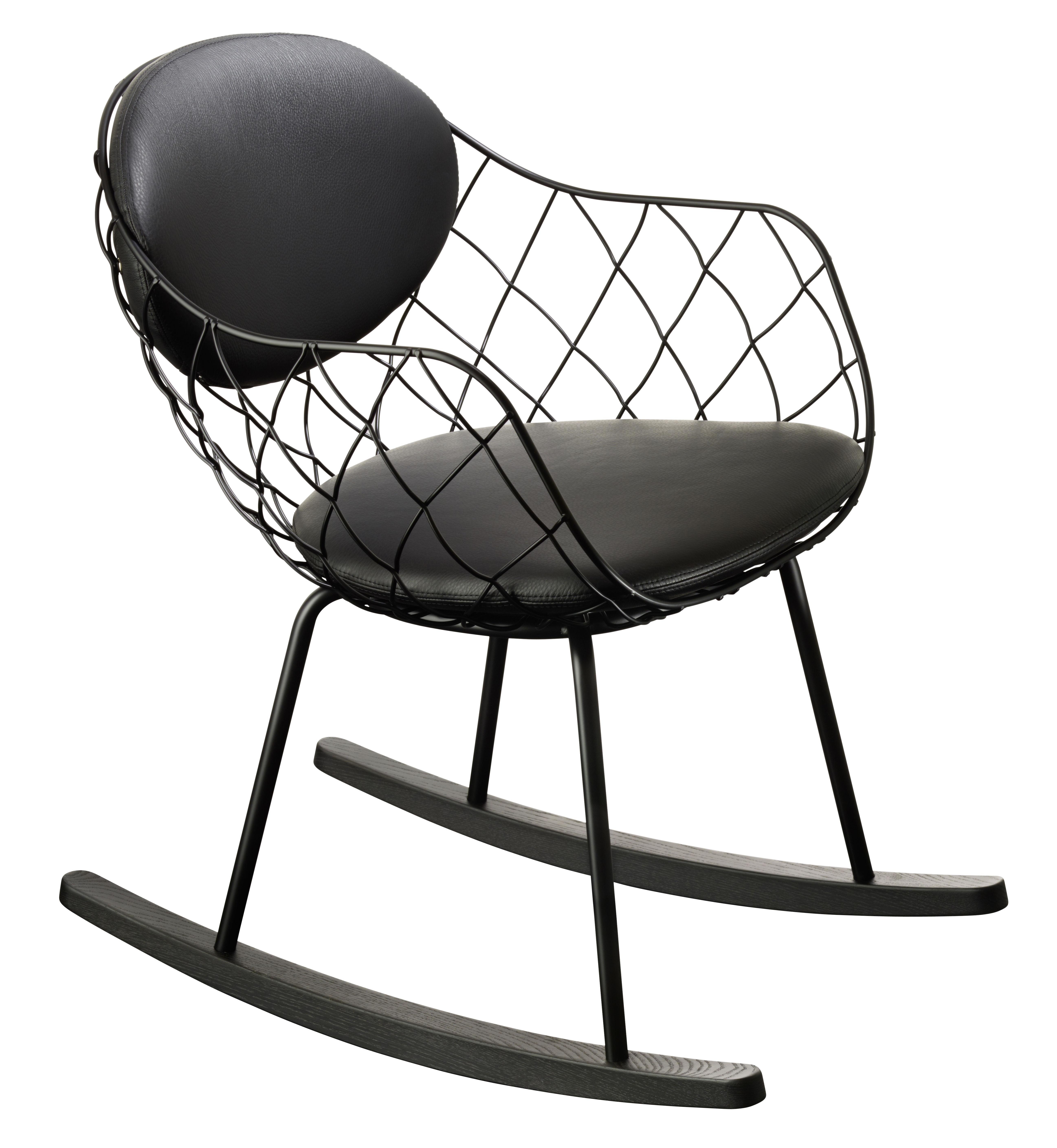 Mobilier - Fauteuils - Rocking chair Pina / Cuir - Métal & pieds bois - Magis - Cuir noir / Structure noire - Acier verni, Cuir, Hêtre teinté