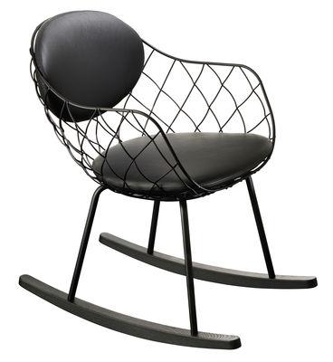 Arredamento - Poltrone design  - Rocking chair Pina / Cuoio - Metallo & piedi legno - Magis - Cuoio nero / Rockers nero - Acciaio verniciato, Faggio tinto, Pelle