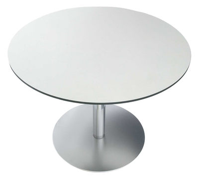 Furniture - Dining Tables - Rondo Round table - Ø 120 cm by Lapalma - Top : white laminate - Laminate, Stainless steel
