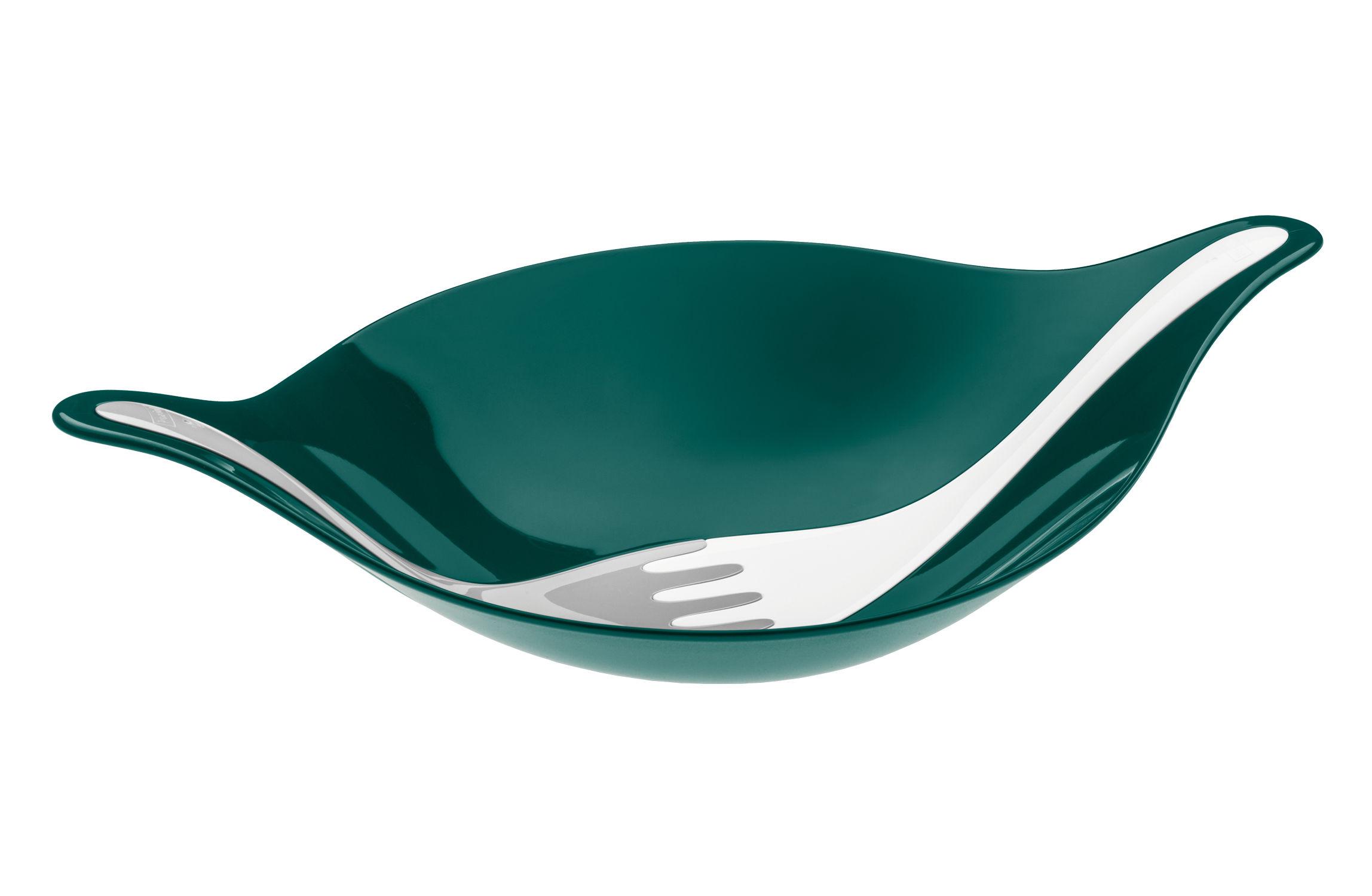 Arts de la table - Saladiers, coupes et bols - Saladier Leaf L+ / 3 L - Avec couverts - Koziol - Vert sapin / Couverts coton & gris - Plastique