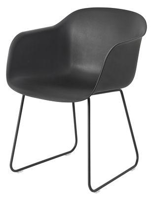 Fiber Sessel / mit Kufengestell - Muuto - Schwarz