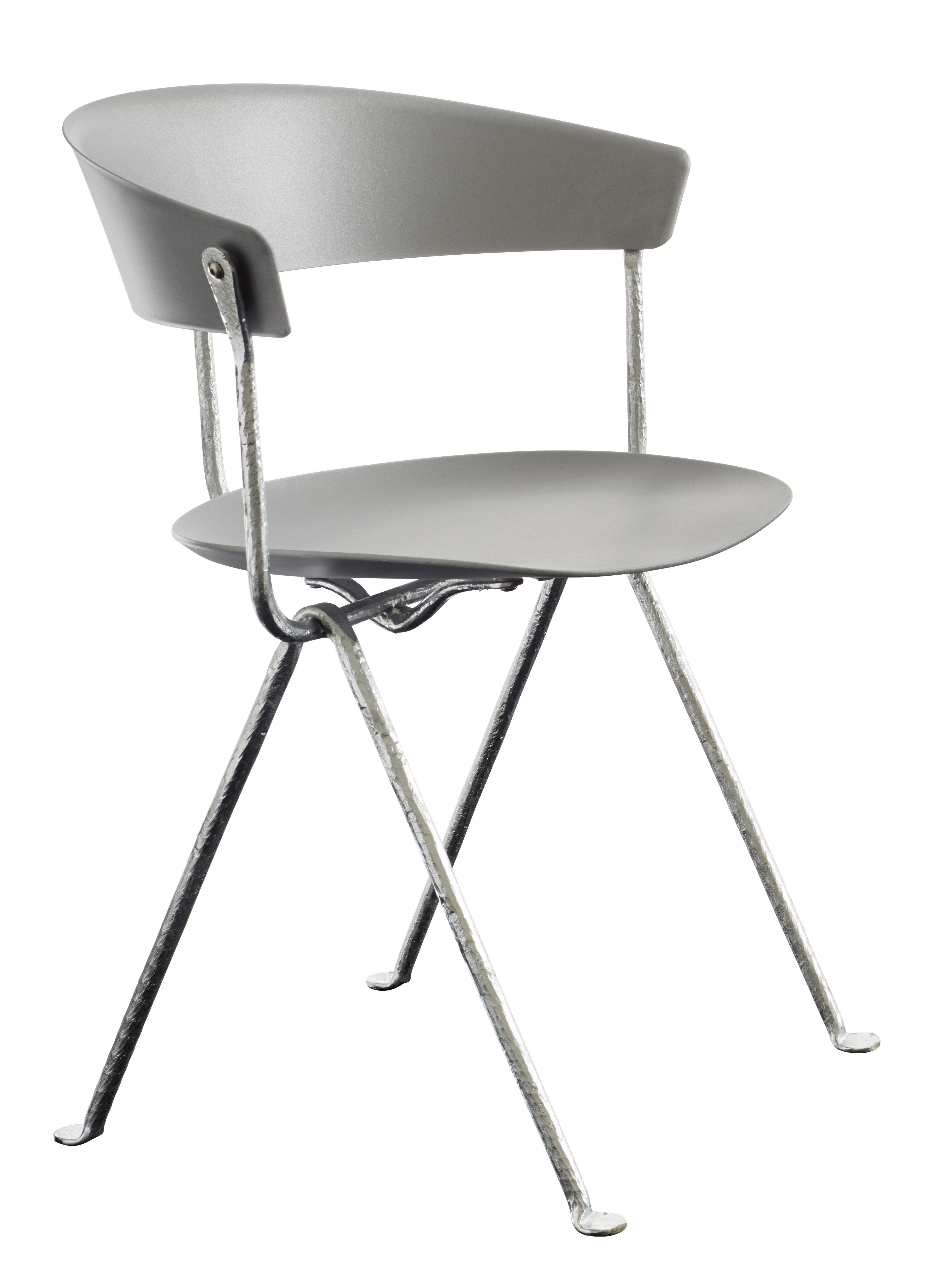 Möbel - Stühle  - Officina Sessel / Polypropylen - Magis - Metallgrau / Gestell verzinkt - Polypropylen, Schmiedearbeit