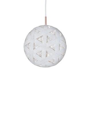 Illuminazione - Lampadari - Sospensione Chanpen Hexagon - / Ø  26 cm di Forestier - Bianco / Motivo triangolo - Tessuto in abaca