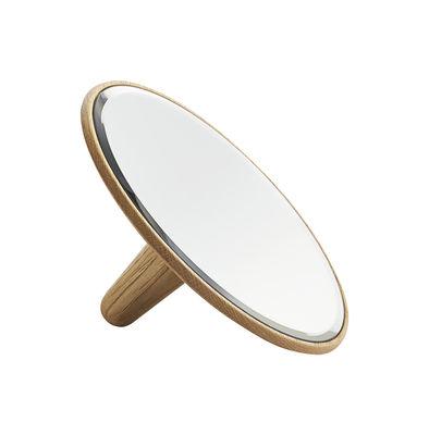 Arredamento - Appendiabiti  - Specchio Barb Small / Ø 21 cm - da appoggiare o da fissare alla parete - Woud - Ø 21 cm / Rovere - Rovere massello, Vetro