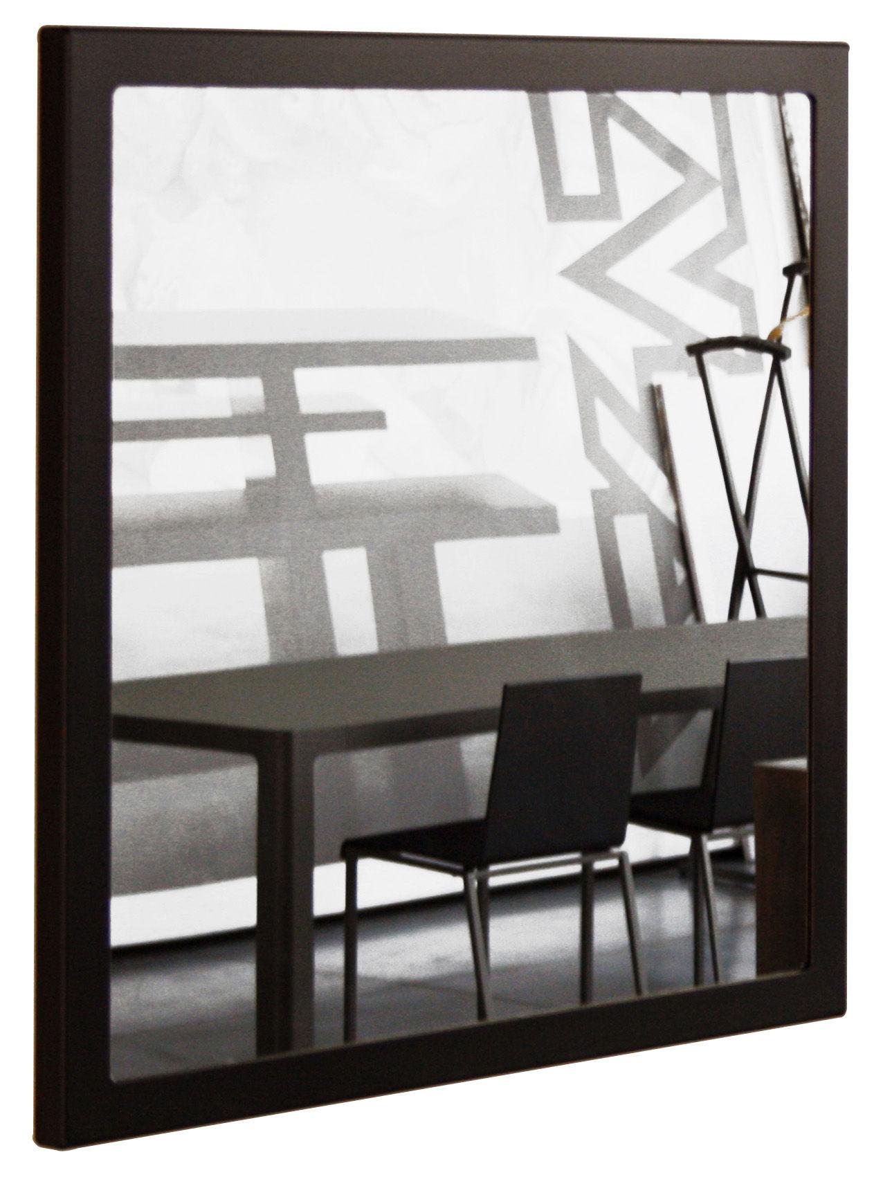 Arredamento - Specchi - Specchio murale Little Frame - 90 x 90 cm di Zeus - Fosfatato nero - Tôle d'acier naturelle