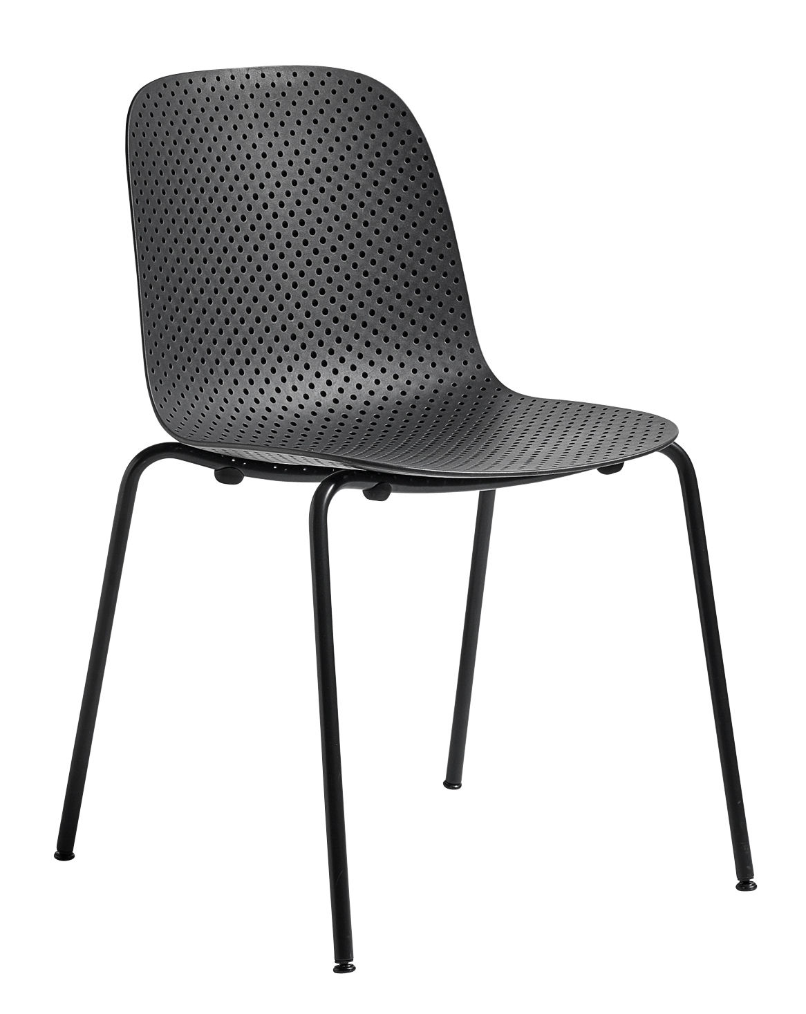 Furniture - Chairs - 13eighty Stacking chair - / Perforated plastic by Hay - Black - Epoxy lacquered steel, Perforated polypropylene