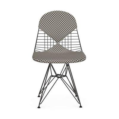 Möbel - Stühle  - Wire Chair DKR Stuhl / Gepolstert - By Charles & Ray Eames, 1951 - Vitra - Stoff schwarz & weiß (Checker) / Gestell schwarz - Epoxid-lackierter Stahl, Gewebe, Polyurethan-Schaum