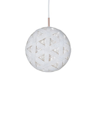 Luminaire - Suspensions - Suspension Chanpen Hexagon / Ø  26 cm - Forestier - Blanc / Motifs triangles - Abaca tissé