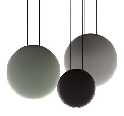 Luminaire - Suspensions - Suspension Cosmos LED / Set de 3 suspensions - L 55 cm - Vibia - Vert Ø27 / Gris Ø27 / Chocolat Ø19 - Polycarbonate