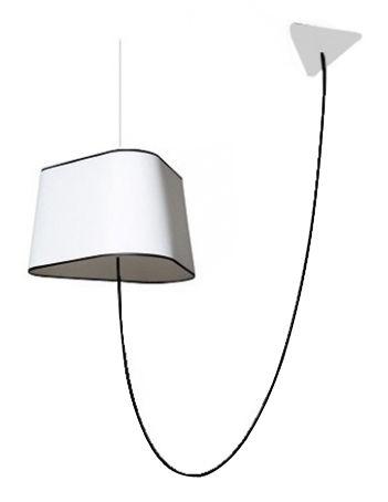 Luminaire - Suspensions - Suspension Grand Nuage L 43 cm / Version déportée - Designheure - Tissu blanc avec bordure noire - Polycarbonate, Tissu