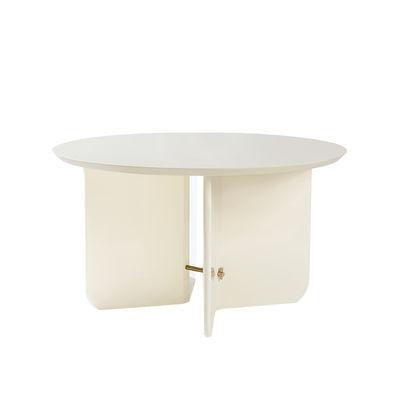 Mobilier - Tables basses - Table basse Be Good Large / Ø 80 x H 45 cm - Bois laqué - RED Edition - Ivoire - Bois laqué, Laiton