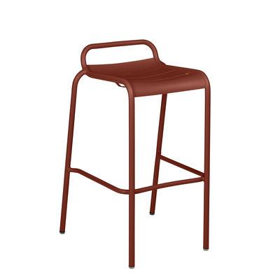 Tabouret haut Luxembourg / Aluminium - H 78 cm - Fermob rouge/marron en métal