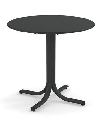 Outdoor - Tavoli  - Tavolo pieghevole System - / Ø 80 cm di Emu - Ferro antico - Acciaio galvanizzato verniciato