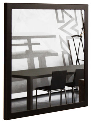 Furniture - Mirrors - Little Frame Wall mirror - 90 x 90 cm by Zeus - Black phosphatized - Natural steel plate