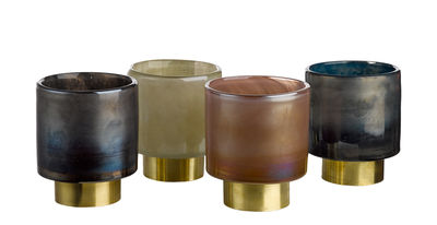 Dekoration - Kerzen, Kerzenleuchter und Windlichter - Belt Small Windlicht / H 12 cm - 4er Set - Pols Potten - H 12 cm / rosa, beige, blau, grau - Glas, Messing