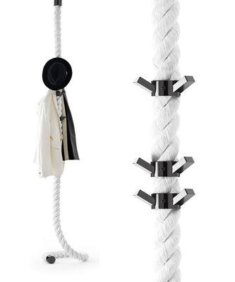 Arredamento - Appendiabiti  - Appendiabiti La Cima - / Fissaggio a muro - 6 ganci di Opinion Ciatti - Bianco / Ganci neri - Metallo, Tessuto
