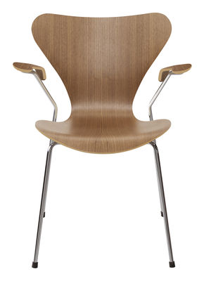 Furniture - Chairs - Série 7 Armchair - Natural wood by Fritz Hansen - Walnut - Steel, Varnished walnut plywood