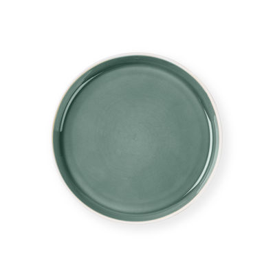 Arts de la table - Assiettes - Assiette à dessert / Ø 22 cm - Grès bicolore - Au Printemps Paris - Kaki clair / Blanc mat - Grès