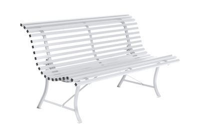 Outdoor - Benches - Louisiane Bench with backrest - / L 150 cm - Metal by Fermob - Cotton white - Electro-galvanized steel