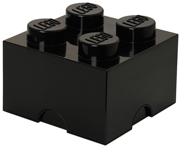 Déco - Pour les enfants - Boîte Lego® Brick / 4 plots - Empilable - ROOM COPENHAGEN - Noir - Polypropylène