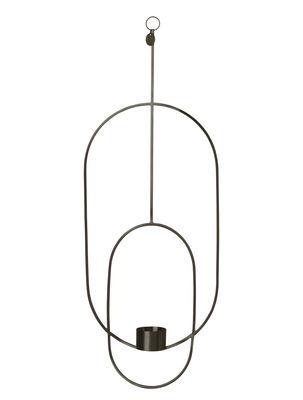 Déco - Bougeoirs, photophores - Bougeoir à suspendre Oval /  L 18 x H 50 cm - Ferm Living - Noir - Laiton peint