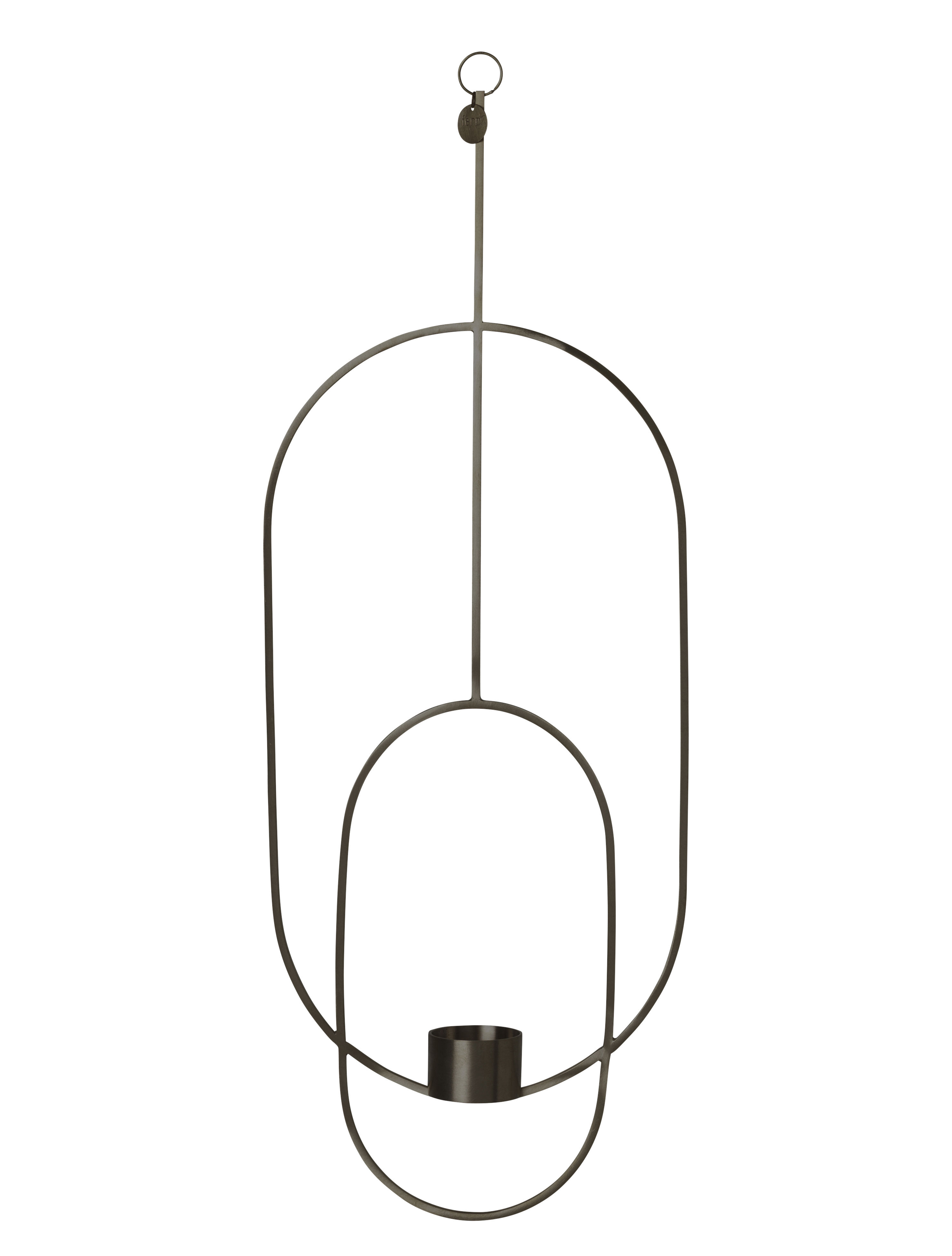 Decoration - Candles & Candle Holders - Oval Candlestick to hang - /  L 18 x H 50 cm by Ferm Living - Black - Painted brass
