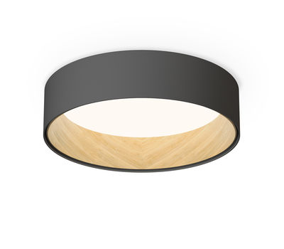 Lighting - Ceiling Lights - Duo LED Ceiling light - / Metal & wood - Ø 48 cm by Vibia - Graphite / Wooden interior - Lacquered aluminium, Oak