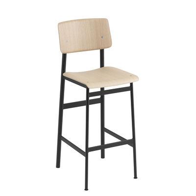 Mobilier - Tabourets de bar - Chaise de bar Loft / H 75 cm - Bois & métal - Muuto - Noir / Chêne - Acier laqué époxy, Contreplaqué de chêne verni