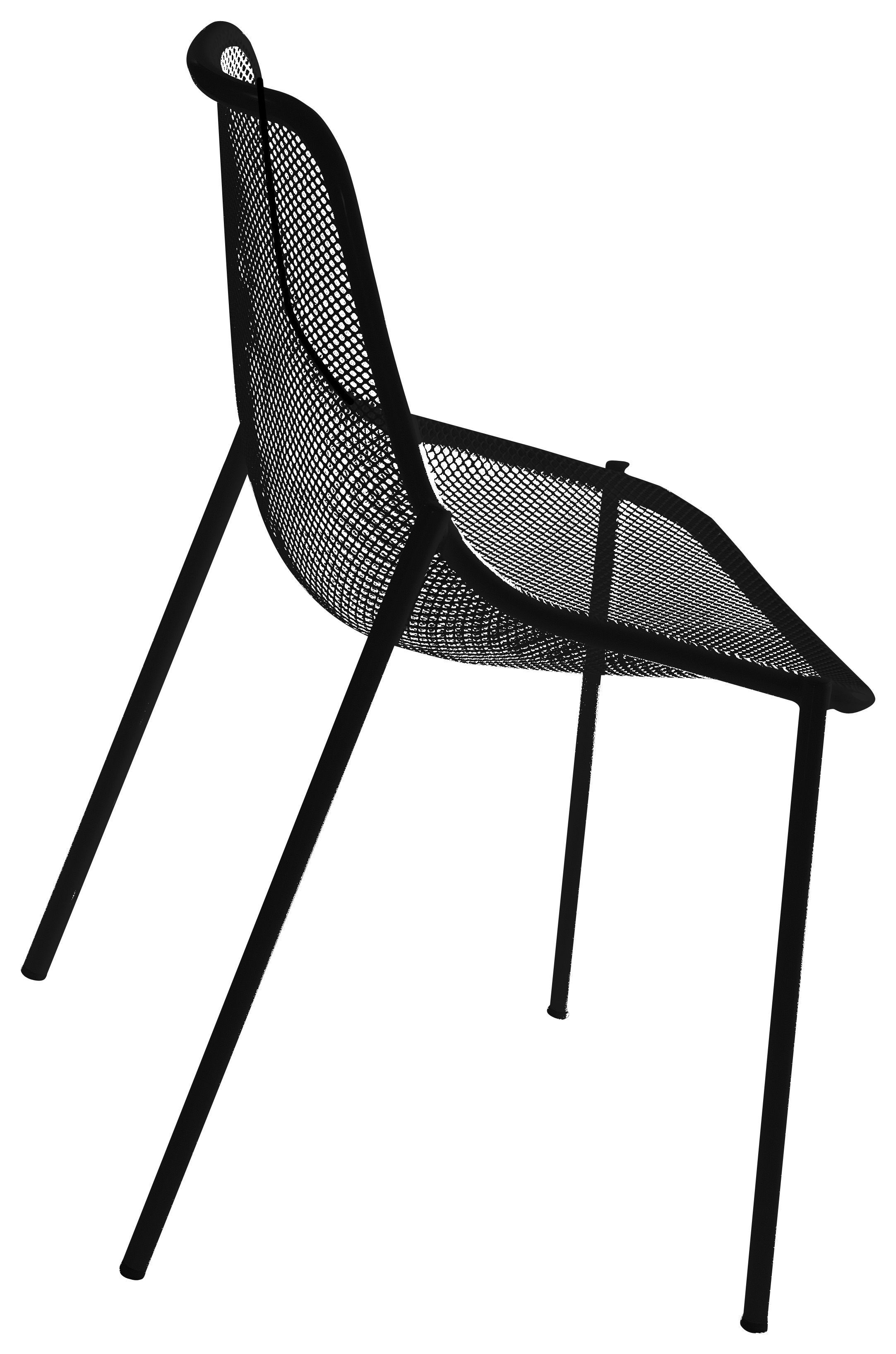 chaise empilable round m tal noir emu made in design. Black Bedroom Furniture Sets. Home Design Ideas