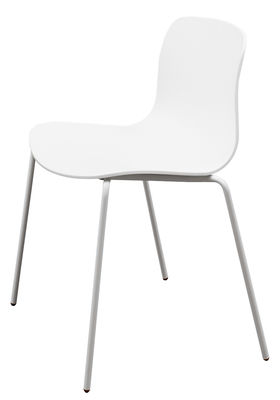 Chaise Empilable About A Chair AAC16 Plastique Pieds Mtal Blanc