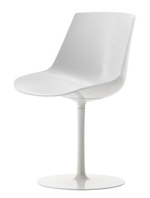 Mobilier - Chaises, fauteuils de salle à manger - Chaise pivotante Flow / Pied central - MDF Italia - Blanc brillant - Aluminium laqué, Polycarbonate