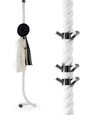 Furniture - Coat Racks & Pegs - La Cima Coat stand - / Wall fixing - 6 hooks by Opinion Ciatti - White / Black hangers - Fabric, Metal