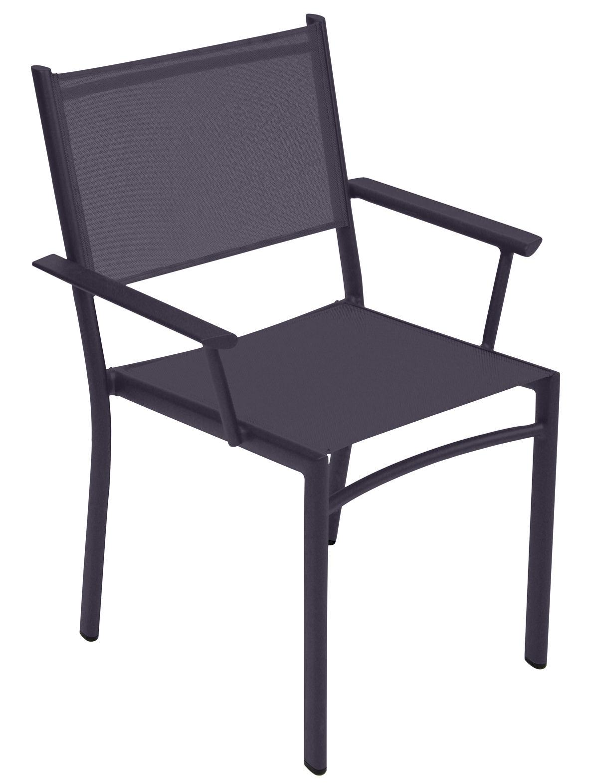 Mobilier - Chaises, fauteuils de salle à manger - Fauteuil empilable Costa / Assise toile - Fermob - Prune - Aluminium, Toile