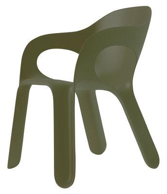 Mobilier - Chaises, fauteuils de salle à manger - Fauteuil empilable Easy chair / Plastique - Magis - Vert olive - Polypropylène