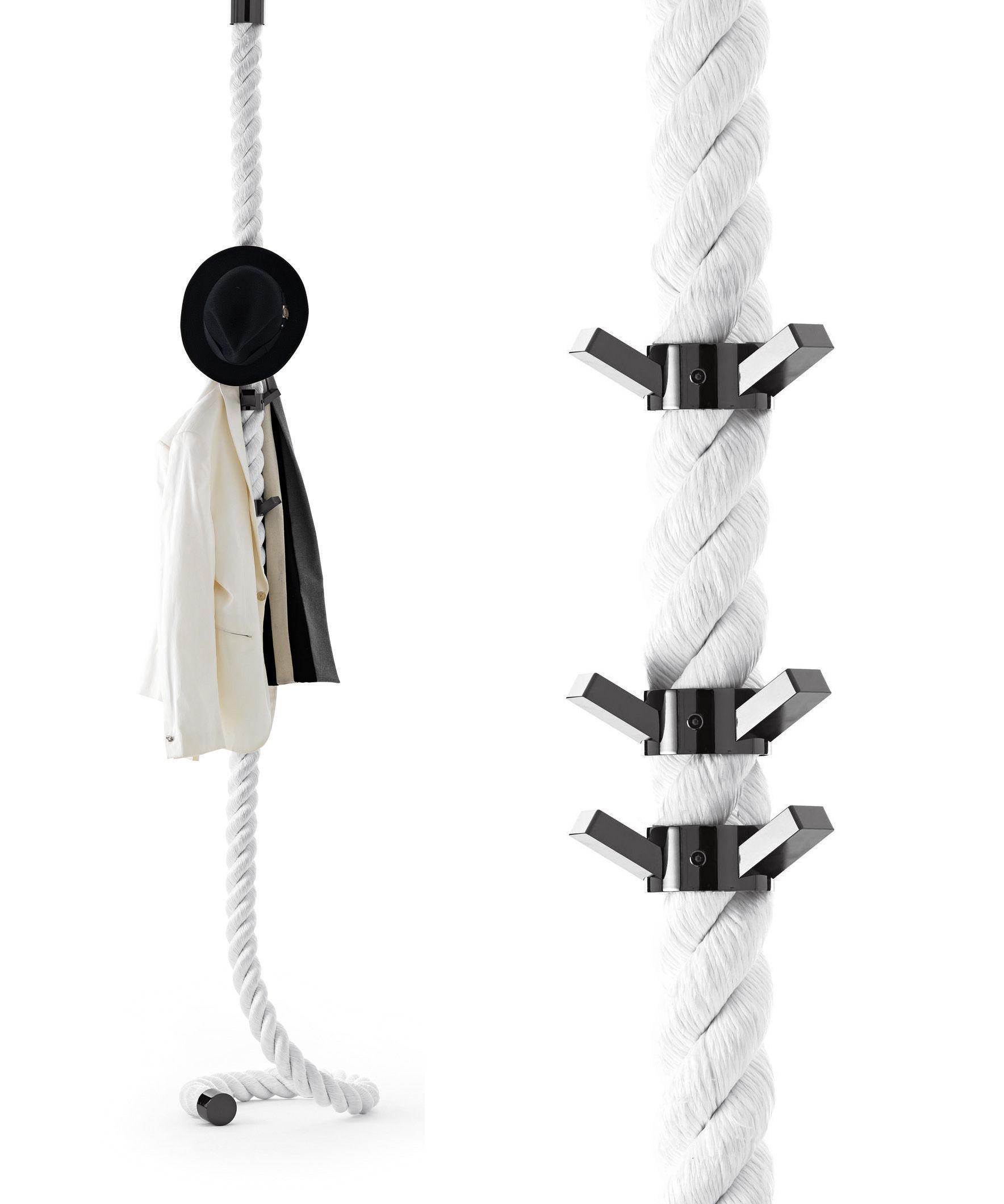 Möbel - Garderoben und Kleiderhaken - La Cima Garderobe / wird an der Wand befestigt - 6 Haken - Opinion Ciatti - Weiß / Haken schwarz - Gewebe, Metall