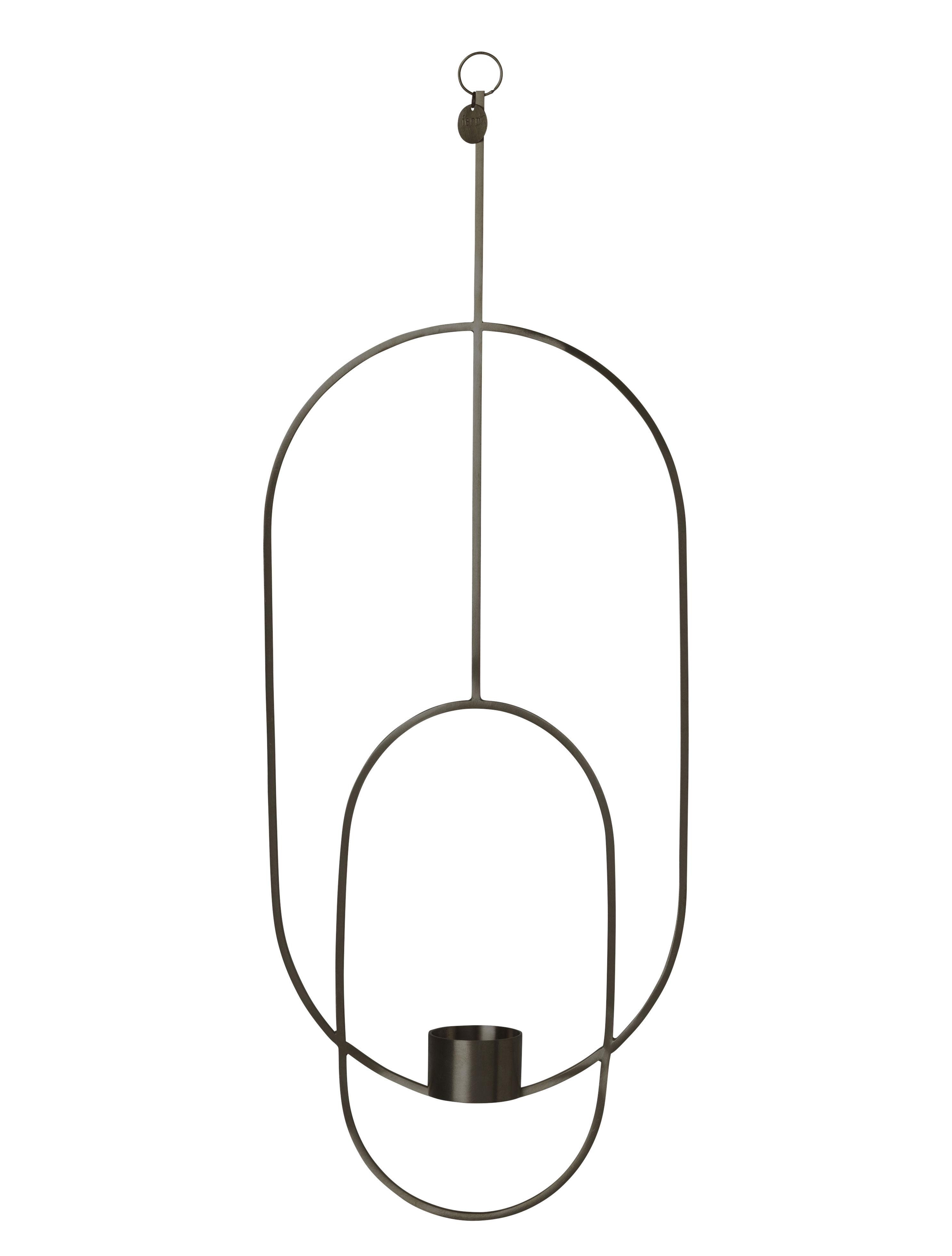Dekoration - Kerzen, Kerzenleuchter und Windlichter - Oval Kerzenhalter zum Aufhängen / L 18 cm x H 50 cm - Ferm Living - Schwarz - Messing, bemalt