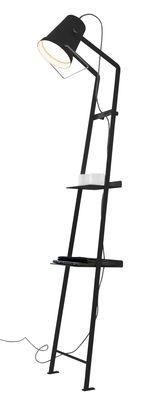 Lampadaire Alfred / 2 étagères - H 175 cm - Karman noir mat en métal