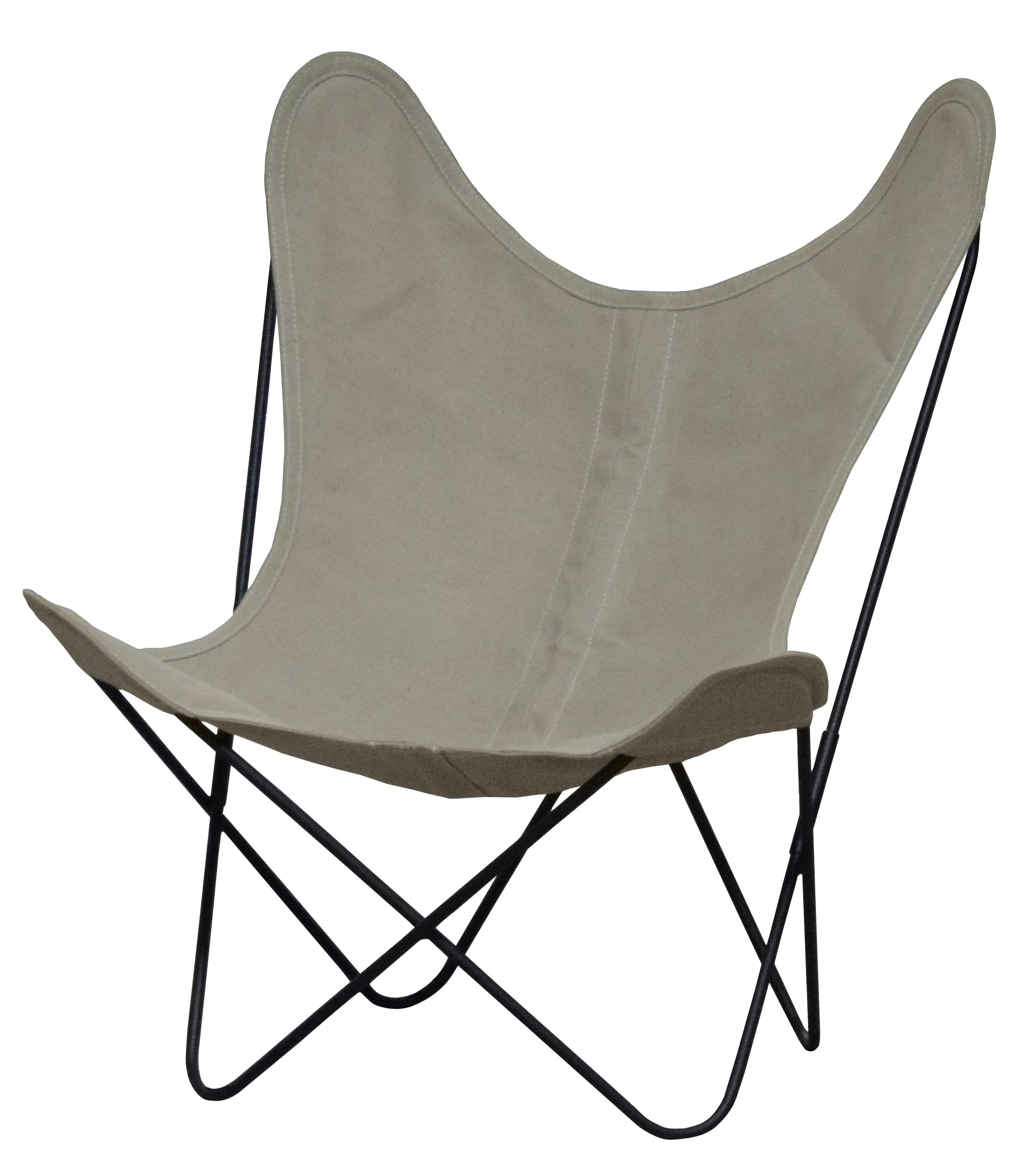 Furniture - Armchairs - AA Butterfly Low armchair - Linen / Black structure by AA-New Design - Black structure / Ecru linen - Linen, Steel