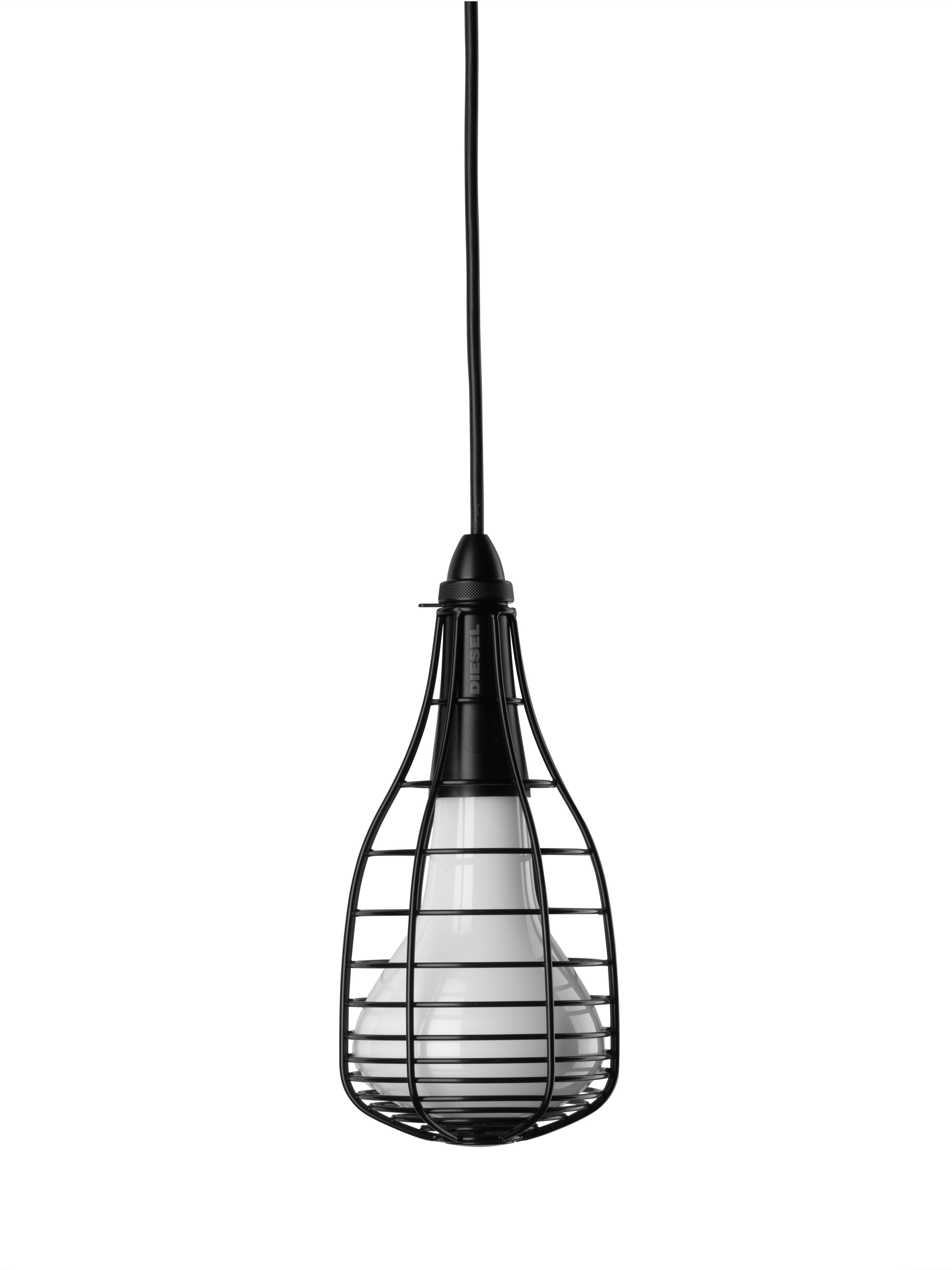 Leuchten - Pendelleuchten - Cage Mic Pendelleuchte - Diesel with Foscarini - Schwarz - geblasenes Glas, lackiertes Metall