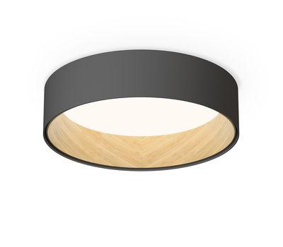 Plafonnier Duo LED / Métal & bois - Ø 48 cm - Vibia gris/bois naturel en métal/bois