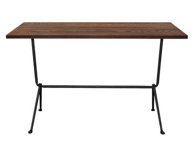 Outdoor - Tische - Officina Bistrot rechteckiger Tisch / 120 x 60 cm - Tischplatte Nussbaum - Magis - Nussbaum / Stuhlbeine schwarz - Eisen, Nussbaum