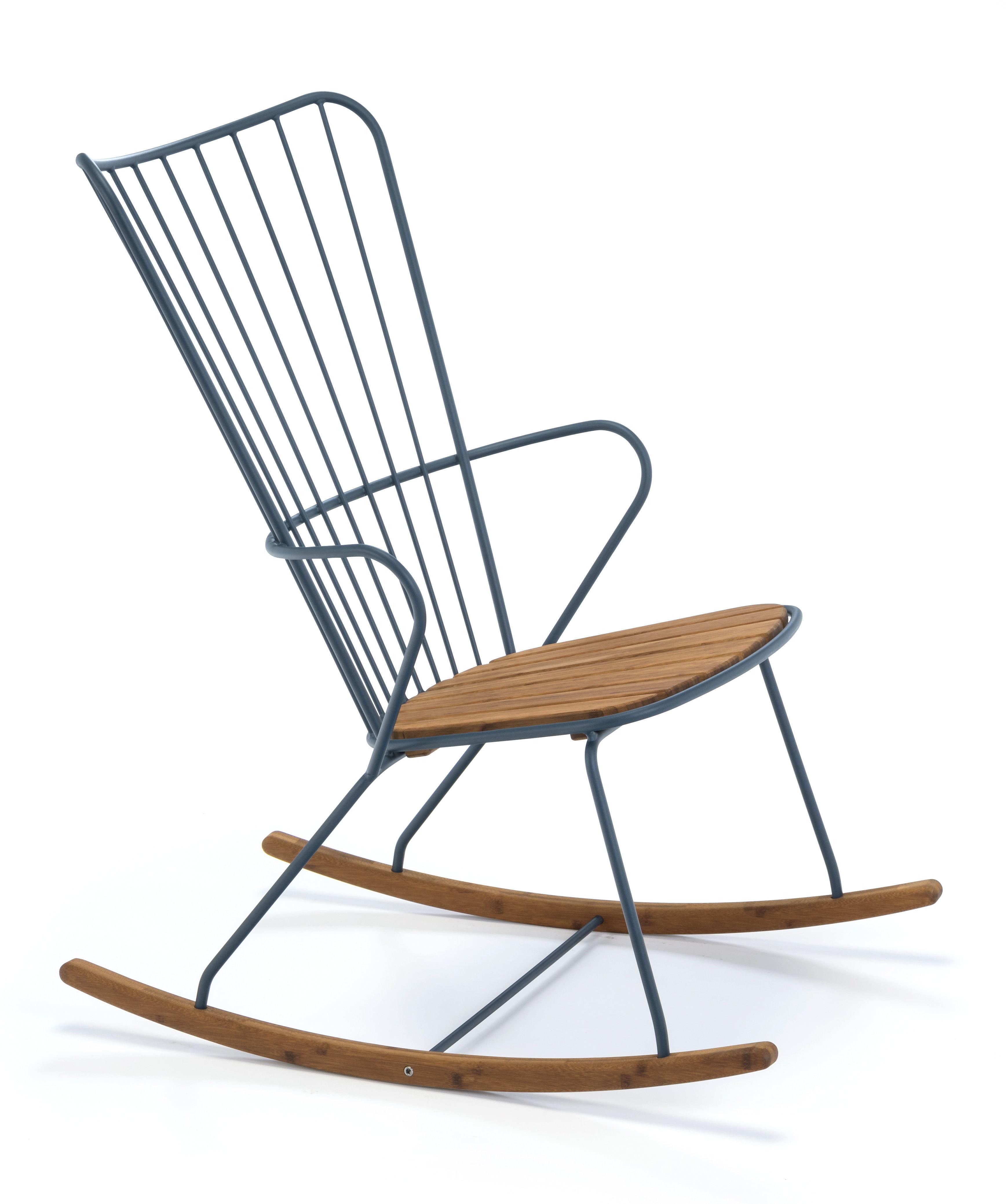 Déco - Objets déco et cadres-photos - Rocking chair Paon / Métal & bambou - Houe - Bleu - Acier revêtement poudre, Bambou