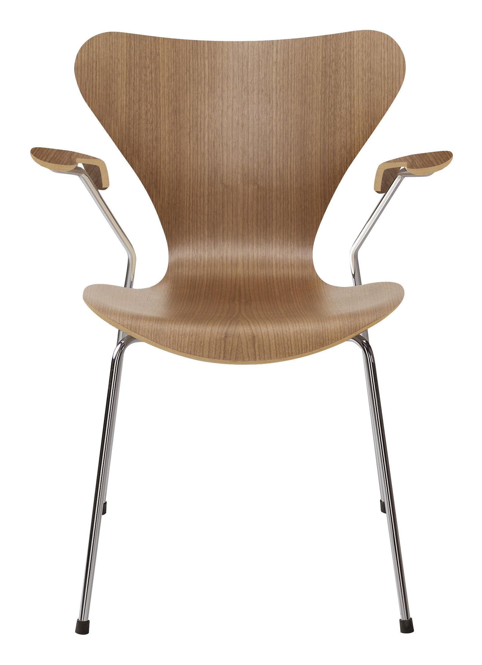Möbel - Stühle  - Série 7 Sessel Holz natur - Fritz Hansen - Nussbaum - Contreplaqué de noyer verni, Stahl